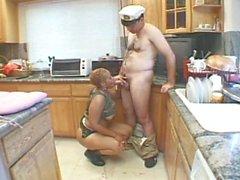 Horny ebony in military uniform