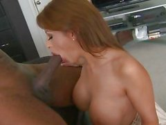 Sensual Alison Star wraps her lips round a huge cock