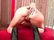 Cute skinny babe gets horny masturbating