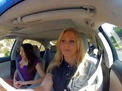 Back seat action with Celeste Star and Julia Ann