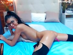 hot glasses brunette amazing bubble ass to toy one