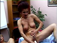 Kinky redhead lady shares her favorite toys with a busty blonde milf