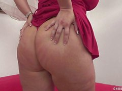 Gorgeous chubby brunette in sexy dress gets nailed doggy style