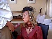 Smoking hot Milf in thigh boots gets a facial