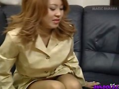 Yuuko touches cock with feet in shoes