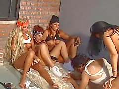 2 hotties bang a guy using a strap-on