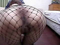 Tied japanese milf in fishnets opens hairy pussy for fun