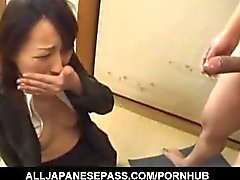 Anno Kiriya is undressed while sucking penises and gets cum