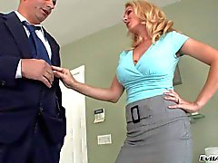 Sexy blonde MILF Angela Attison seduces a gent
