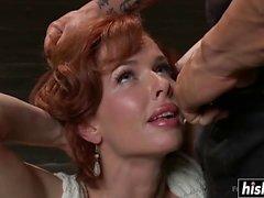 Tied up submissive brunette got slammed