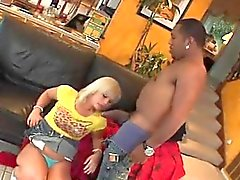 Cute blonde sucking fat monster black shaft