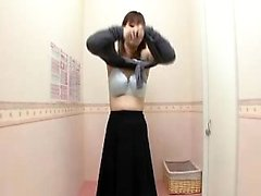 Petite Japanese cutie changes clothes and reveals her lovel