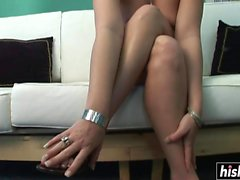 Tattooed chick plays with her pussy