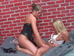 Sexy milfs with big tits eat pussy outdoors