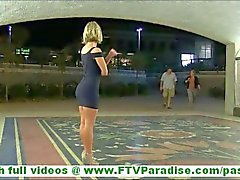 Anne hot blonde milf with big tits flashing ass and flashing tits and stroking pussy in public