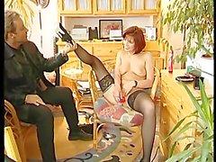 Gorgeous MILF masturbates during interview