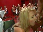 Blonde slut goes crazy sucking on a cock
