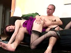 Euro mature in stockings riding a dick