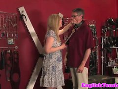 Subdued male slave gets whipped and CBT