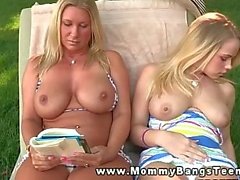 MILF teaches daughter about satisfaction