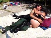 Chubby amateur slut fucked outdoors
