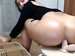 Big butt milf anal dildo riding on chair