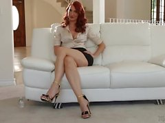 Milf pornstar Kendra James interviews in a satin blouse