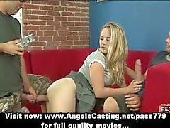 Sexy blonde teenager having gangbang sex with huge cocks