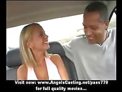 Amazing hot babe with blonde hair does blowjob for afro guy in the car