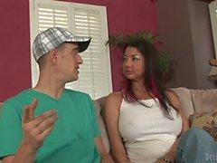 Big racked cougar Nadia Night seduces a skinny boy