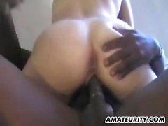 Hardcore MMF blowjob and cock riding scene with pretty bru