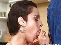 Divorced housewife kneels and blow