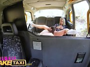 Female Fake Taxi Horny tarts use cucumber to stretch pussies