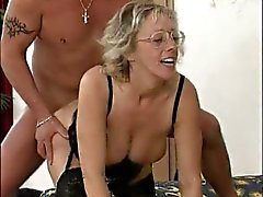 German blond MILF fucking with two mens
