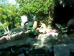 Blonde gets big cock stuffed in her mouth to suck and then fucks