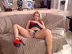 Sexy blonde gets caught masturbating