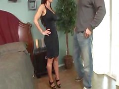 Busty brunet Lisa Ann has perfect throat and coochie