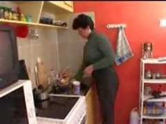 Mom and son in kitchen