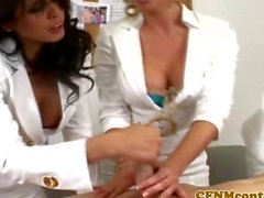 CFNM milf nurses play with a patients cock