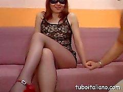 Amateur Italian milf dildoes her muff