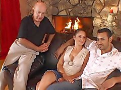 Husband happily watches wife with a new man