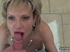 Unfaithful british milf lady sonia flashes her big melons