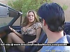 Mature busty wife gets dressed goes for a ride in the car