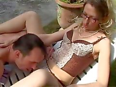 Lingerie babe in glasses has anal sex outdoors