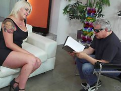 Blonde mom Missy Monroe shows her large breasts to a man