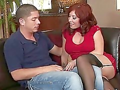 Fiery redhead MILF bitch gets banged by young hunk