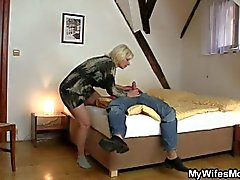Horny stud fucks his mother-in-law hardcore