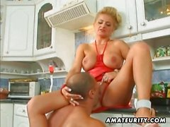 Busty amateur Milf anal and facial in the kitchen