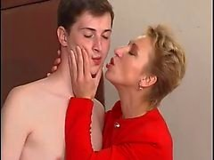 Hot short haired mature with young boy