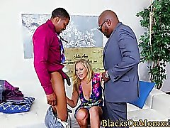 Busty milf railed in interracial threesome